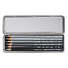 Graphite Line Metal Box Set with 9B,7B,5B,3B,HB & 2H Grafwood pencils