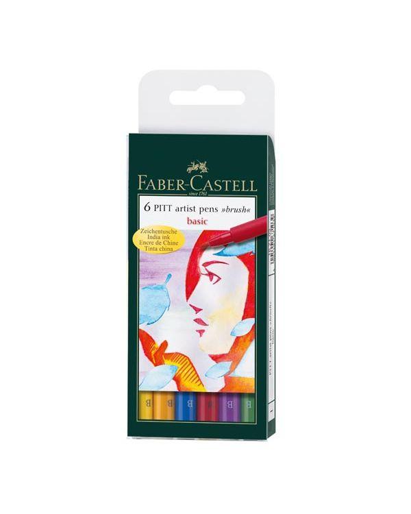Basic Wallet of 6 - Faber Castell Pitt Brush Pen Sets