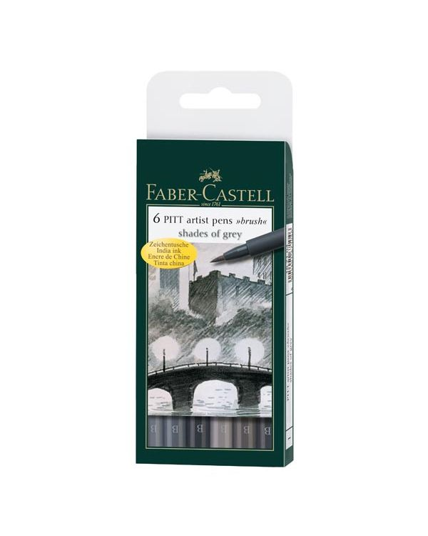 Greys Wallet of 6 - Faber Castell Pitt Brush Pen Sets