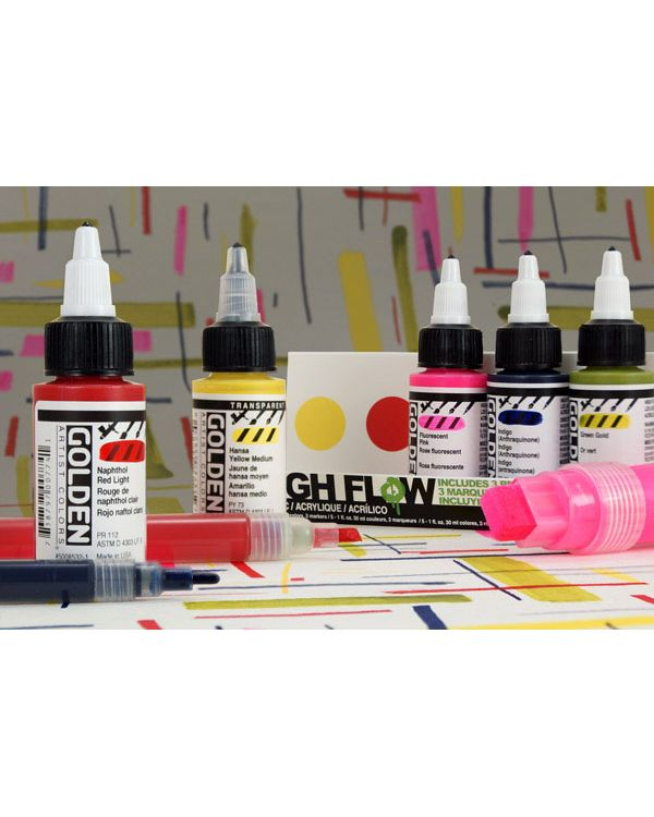 High Flow Marker Set 5 colours & 3 markers - Golden