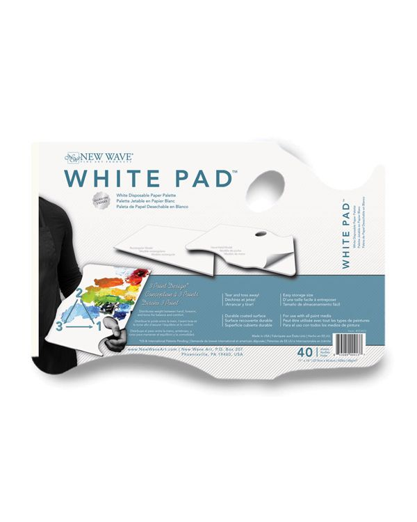 White Pad Hand Held - 28 x 40cm - 40 sheets - Disposable Palette - New Wave