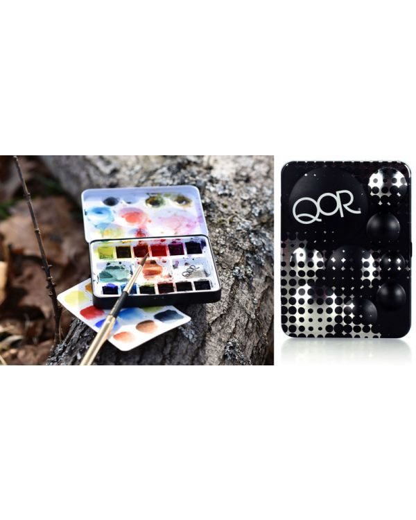 Mini Half Pan Set x 12 Half Pans - QOR Watercolour Sets - Golden