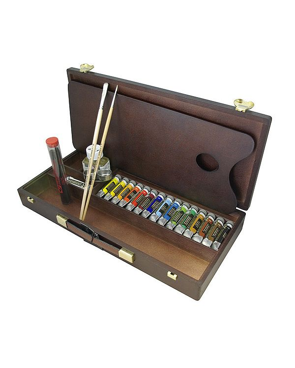 Traditional Wooden Box - Rembrandt Oil Colour Set