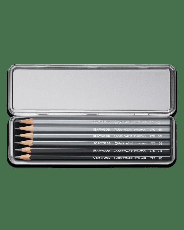 Graphite Line Metal Box Set with 9B,7B,5B,3B,HB & 2H Grafwood pencils