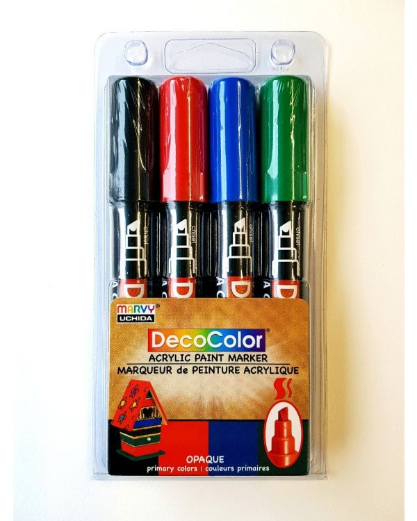 Marvy Uchida Decocolor acrylic paint marker set (4) Primary