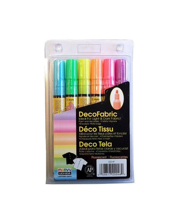 Marvy Uchida Decofabric marker set (6) Fluorescents (222-6F)