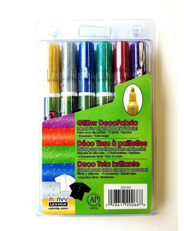 Marvy Uchida Decofabric marker set (6) Glitter (222-6G)