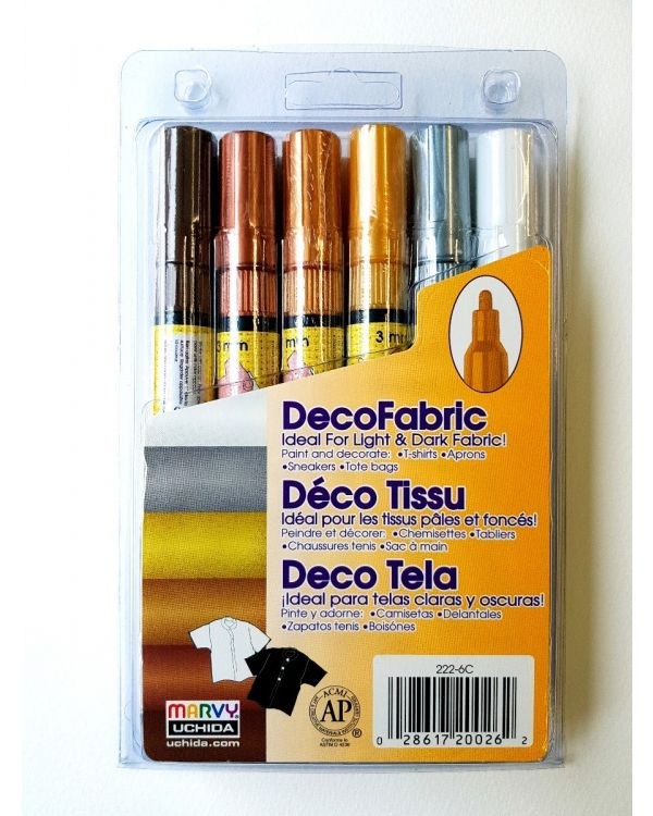 Marvy Uchida Decofabric marker set (6) Golds (222-6C)