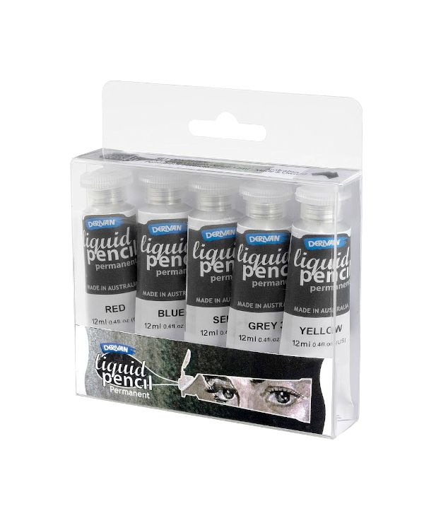 Derivan Liquid Graphite Pencil Set - 5 x 12 ml