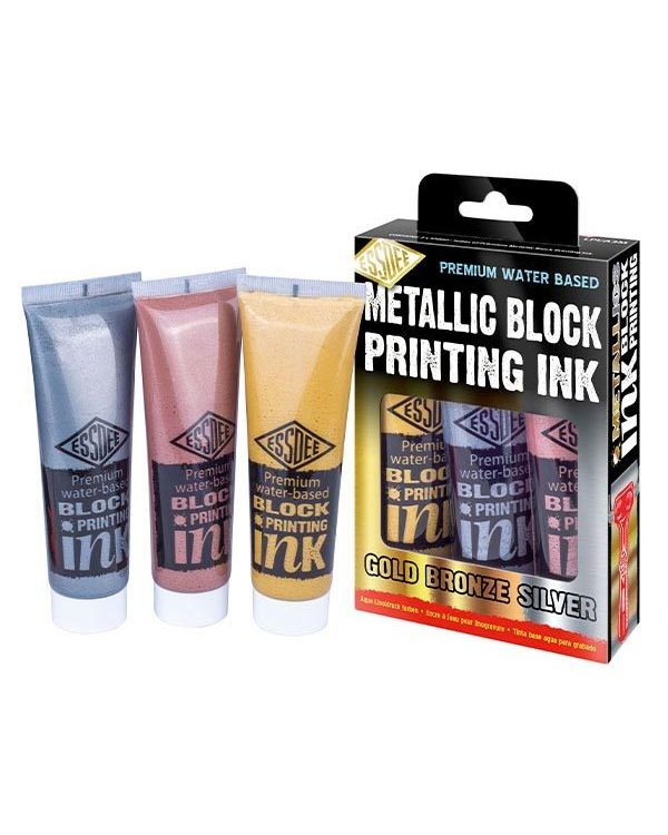 Set of 3 x 100ml Metallic Block Printing Inks - Essdee