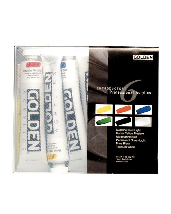 Professional Set of Six 22ml Tubes - Golden Acrylic Sets