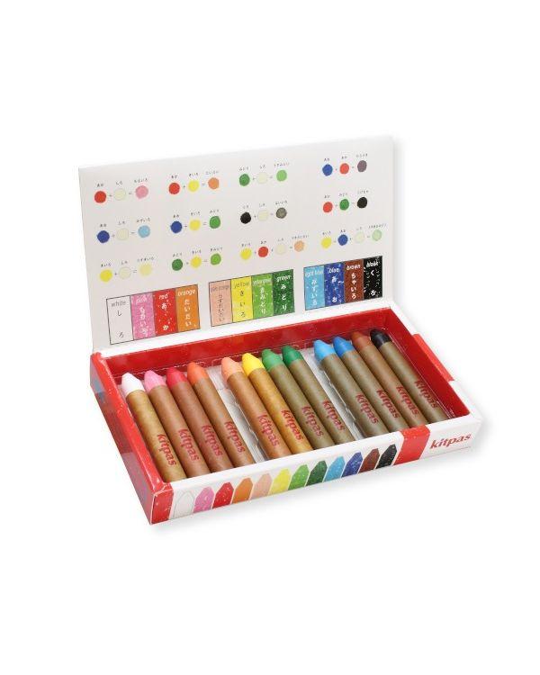 Kitpas Medium crayon set 12 colours