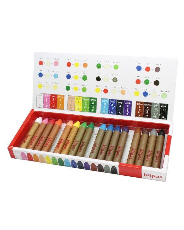 Kitpas Medium crayon set 16 colours