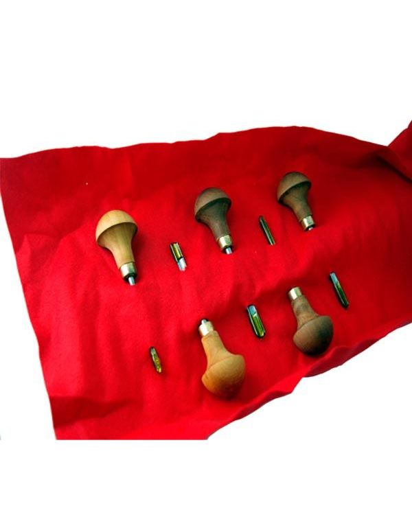 Kit of 5 Pfeil Tools in Baize Roll