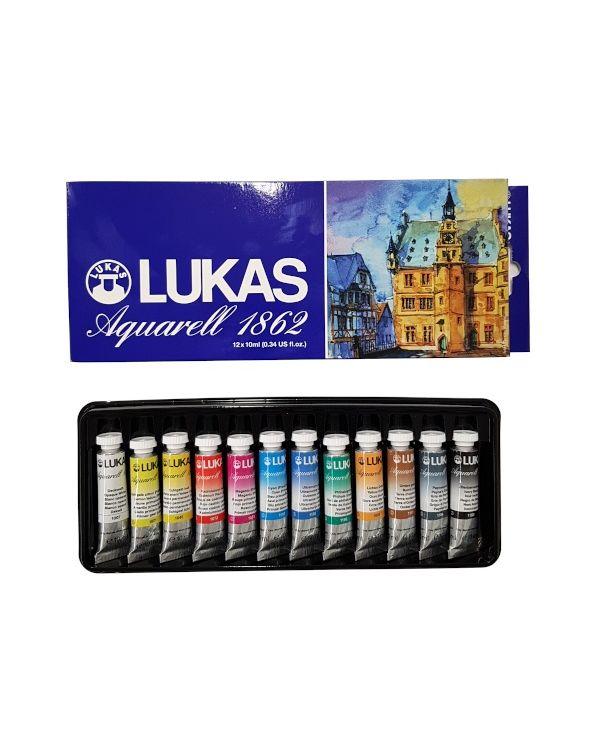 1862 Aquarell 12 x 10 ml tubes - Lukas Watercolour Set