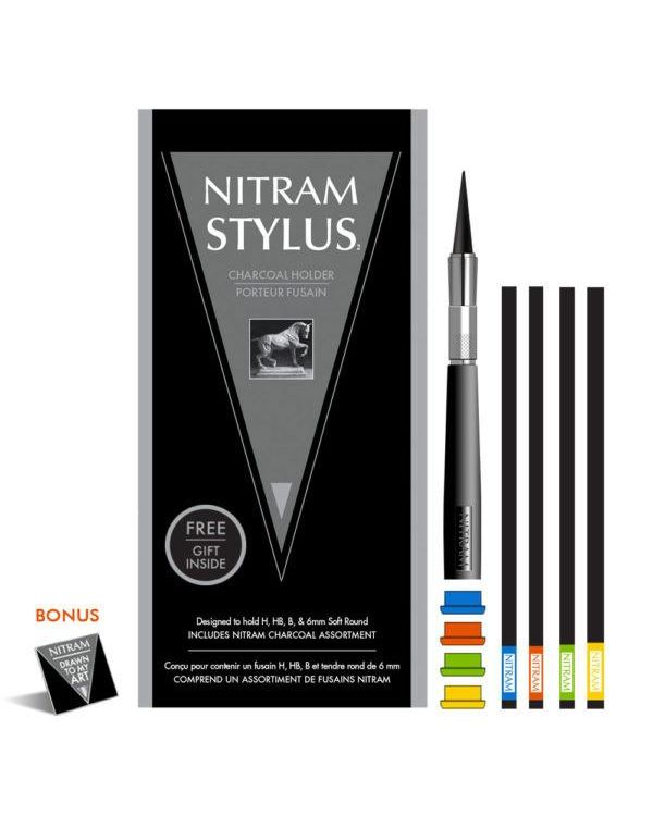 Nitram Charcoal Stylus Set (1 x Stylus 4 caps plus 4 charcoal sticks)