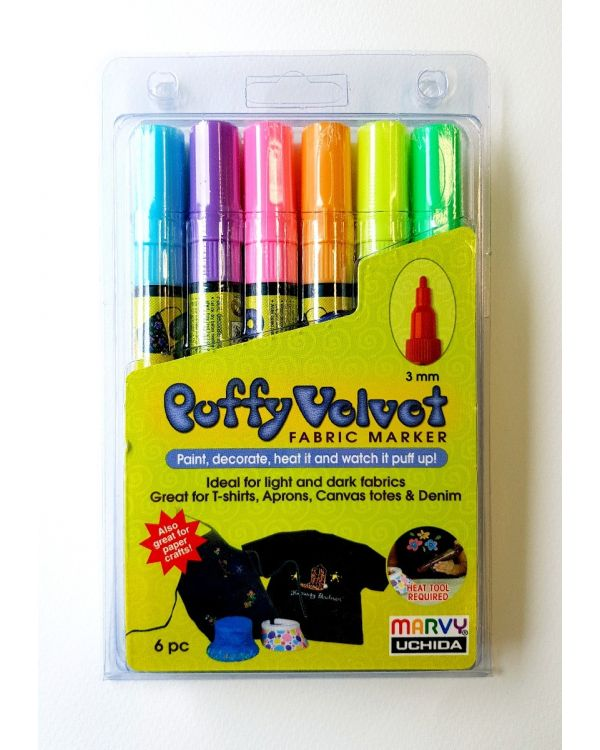 Marvy Uchida Puffy Velvet marker set (6) Fluorescent