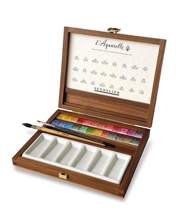 Sennelier Watercolour Wooden Box De Luxe Set 24 half pans